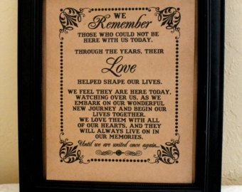 wedding memorial saying for deceased loved ones - Google Search