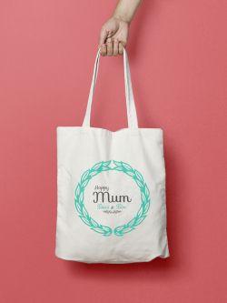 tote-bag-happy-mum-gris-et-vert