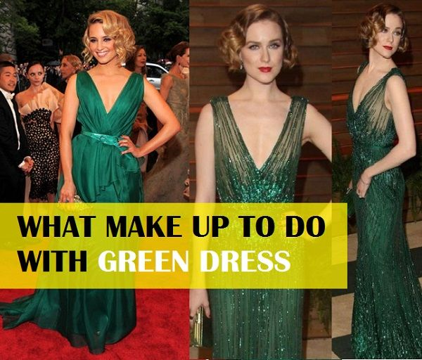 How to do makeup with Green Dress for party dress like cocktail gown, sari, salwar suit etc. Get inspiration from celebrities for makeup with green dress