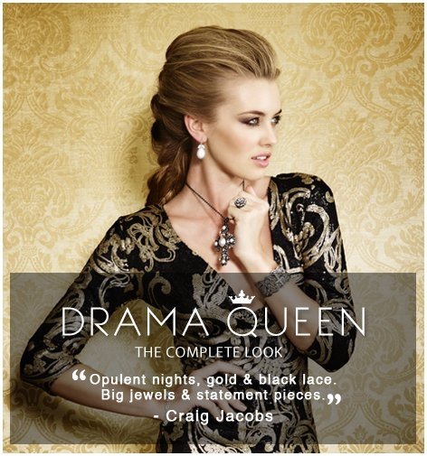 """#Trends #DramaQueen The Complete Look @AmericaSwiss - This look is all about rich intricate detail & glamour @Craig Johns Jacobs """" Opulent nights, gold & black lace.  Big Jewels & statement Pieces.""""  #IHEARTSWISS http://www.americanswiss.co.za/trends/womens-trends/drama-queen/"""