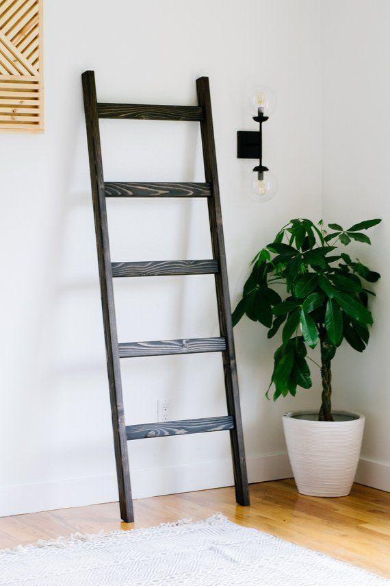 Modern Blanket Ladder Large Wood Quilt Ladder Ebony Black Stained Towel Hanger Living Room D Unique Bathroom Decor Modern Blankets Quilt Ladder