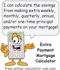 Extra Payment Mortgage Calculator: This free online calculator will calculate the time and interest you will save if you make one-time, weekly, monthly, quarterly, and/or annual extra payments on your house loan. The results include a chart comparing the time and interest with and without the extra payments, along with a printable, revised amortization schedule. The page also alerts you to things to consider before making extra payments on your mortgage.