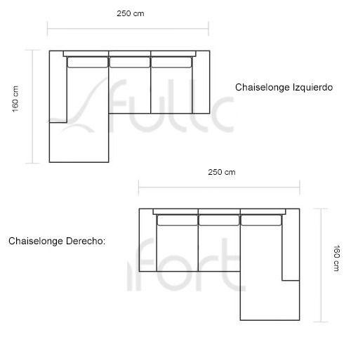 Resultado de imagen para medidas de muebles enl for Sillon en l medidas