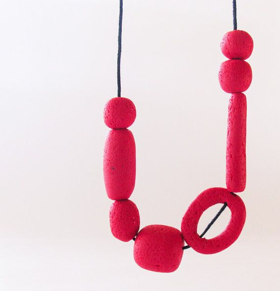 Cherry Red Geometric Necklace Minimalist Modern by totalhandmadeD, $18.00