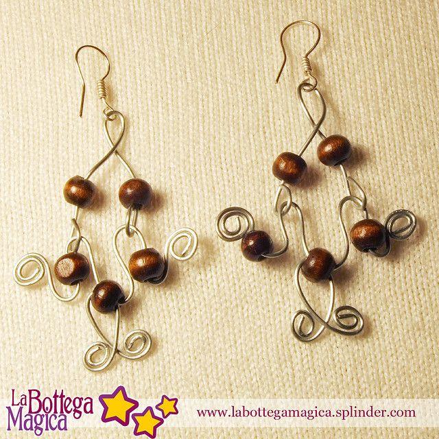 Orecchini perle di legno - 039