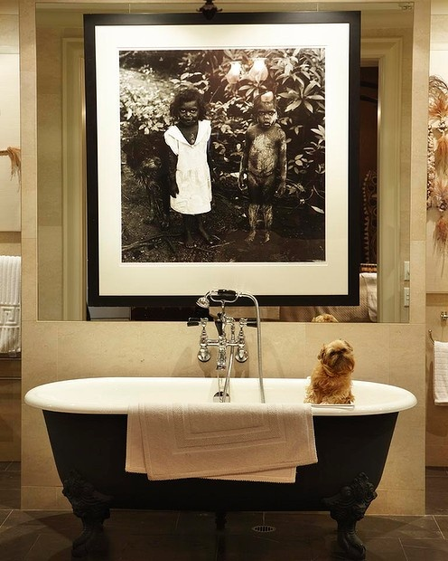 Timeless bathroom design. Pooch optional.