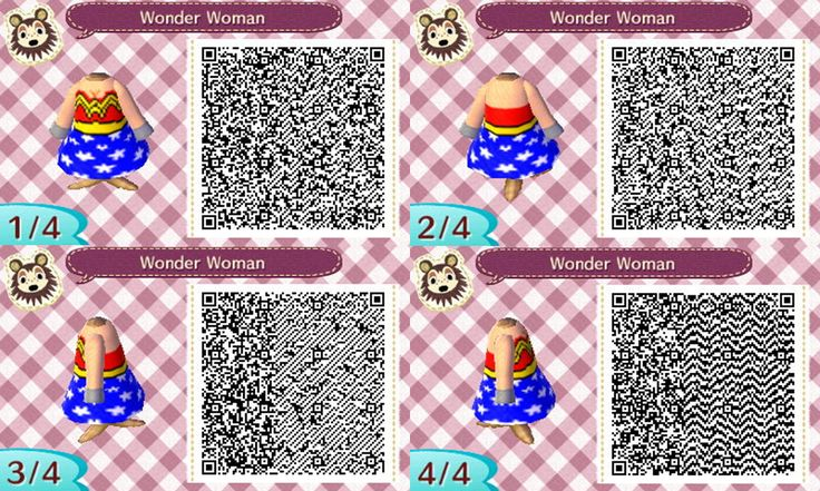 I made a Wonder Woman Animal Crossing New Leaf outfit / design -- QR codes! It's very cute and looks good with the red wrestling boots!! :) :) (Wonder Woman Animal Crossing QR Codes)