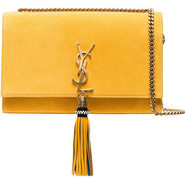 Saint Laurent Yellow suede Kate Monogram Shoulder Bag (50.165 ARS) ❤ liked on Polyvore featuring bags, handbags, shoulder bags, monogrammed handbags, shoulder handbags, monogrammed purses, yves saint laurent and yellow handbags