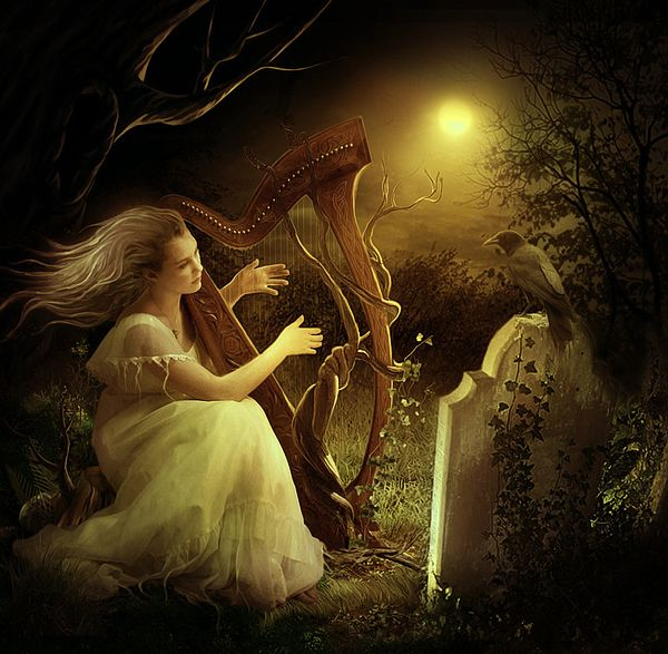 Lovely illustration by Elena Dudina, speaks to my passion for the harp, and - as my instructor tells me - has my lovely harp illustrated therein.