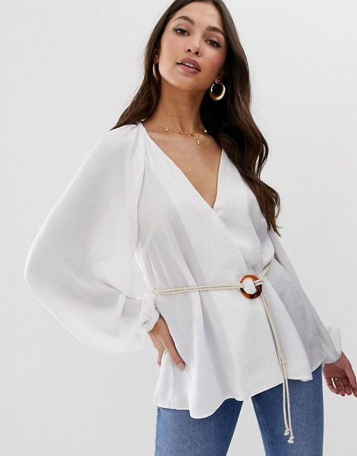41489b9907 DESIGN long sleeve wrap top with rope belt detail in linen in 2019 ...