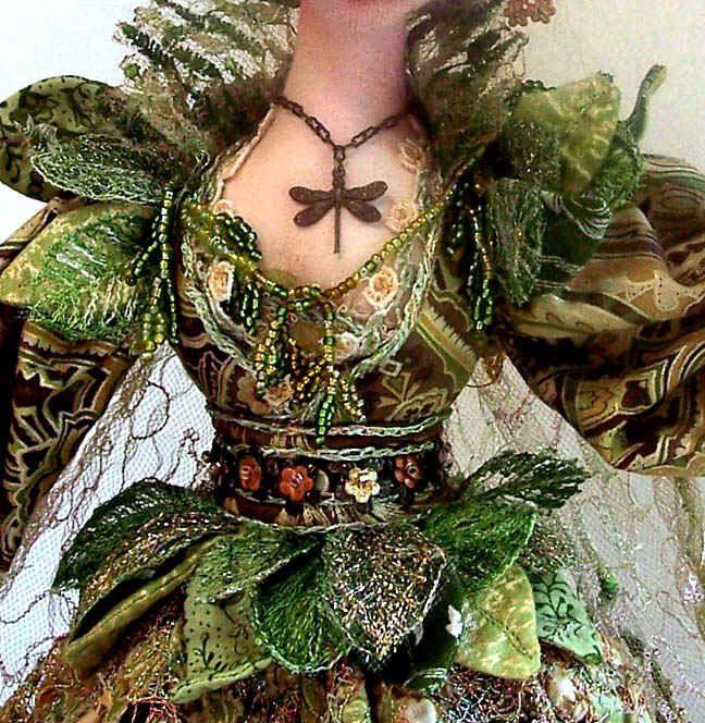 Cloth & Fiber Art Dolls Created by Stephanie Novatski - love the embelishment
