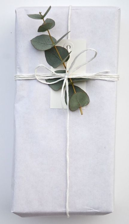 add eucalyptus or rosemary to simple packages tied up with string