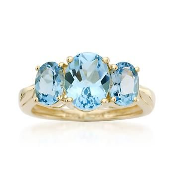 Ross-Simons - 4.00 ct. t.w. Topaz Three-Stone Oval Ring in 14kt Yellow Gold - #467128