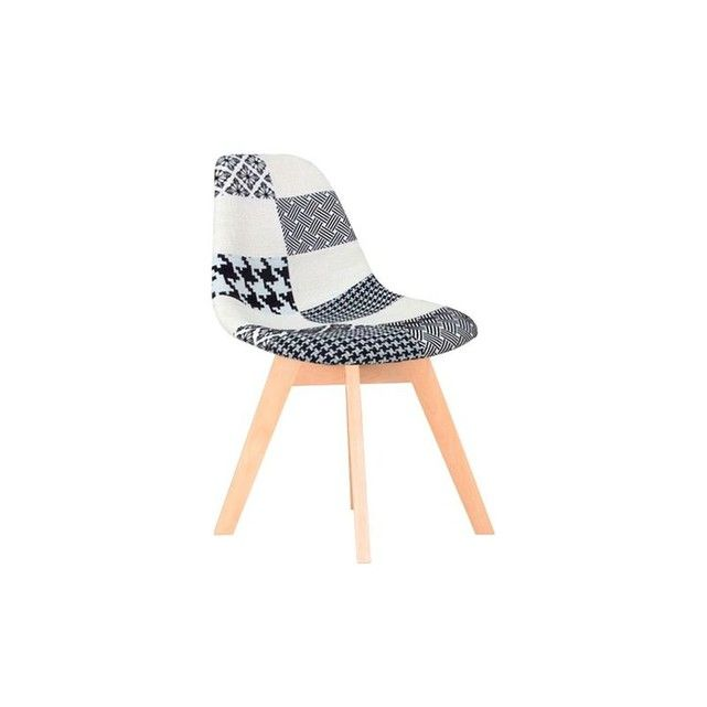 Chaise Scandinave Patchwork Noir Et Blanc Bois Finish Pier Import