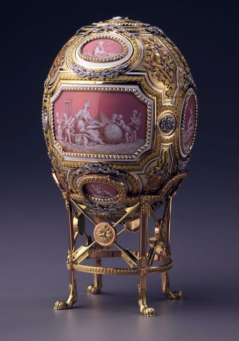 The Catherine the Great Egg (or The Grisaille Egg, or The Cameo Egg), four-color gold, diamonds, pearls, 1914. Presented by Nicholas II to Dowager Empress Maria Fyodorovna. Hillwood Museum, Washington, DC, USA (The Marjorie Merriweather Post Collection)