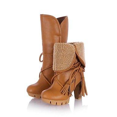 stivali piattaforma scarpe a punta tonda tacco grosso delle donne a metà polpaccio con nappa più colori disponibili - EUR € 31.81