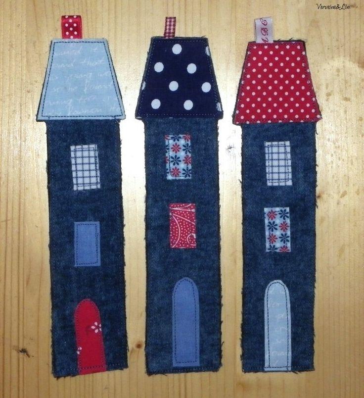 marque-pages en forme de maison vieux jeans et chutes de tissu