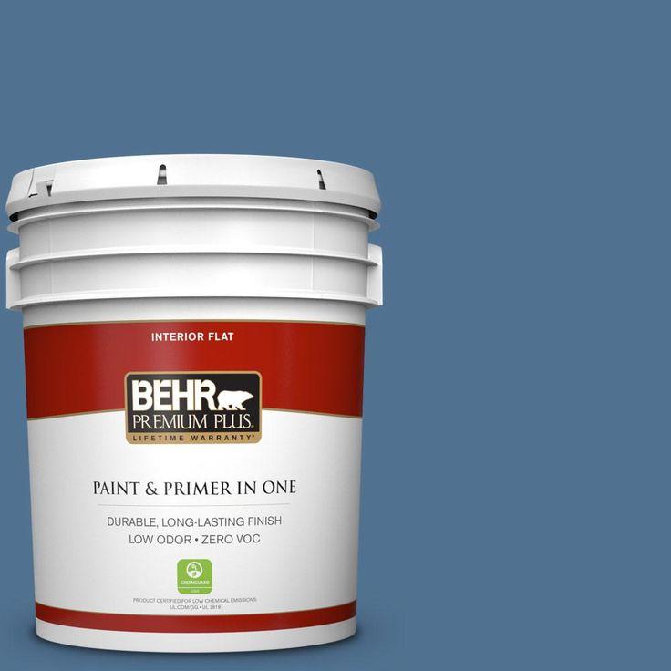 BEHR Premium Plus 5 gal. #PPU14-18 Laguna Blue Zero VOC Flat Interior Paint