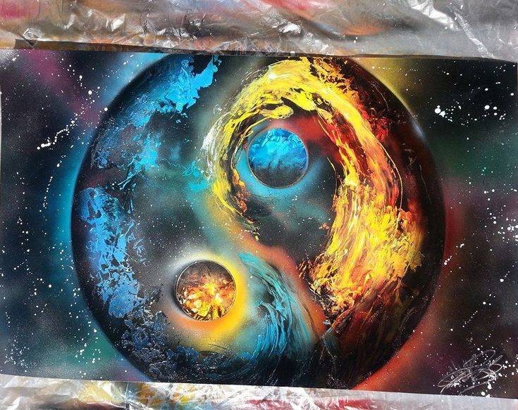 Yin Yang Spray Paint Space Art By Nate Bockus Spray Paint Art Pinterest Art Sprays And