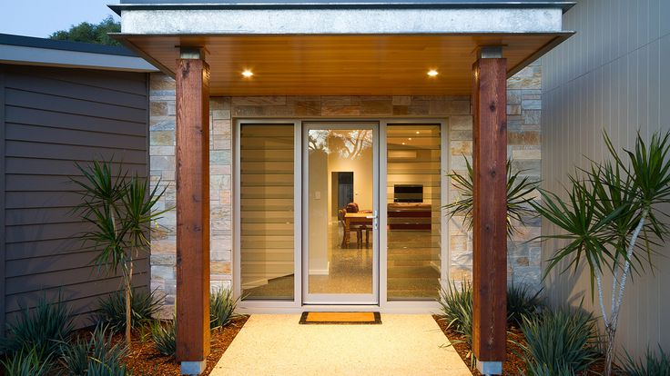 Modern Entrance Design, James Hardie Scyon Linea, Axon cladding, stone feature wall, timber beams.