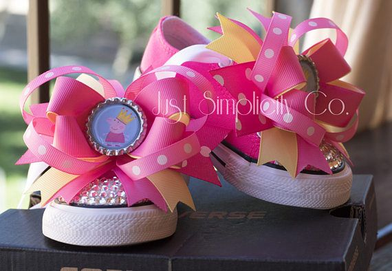 Peppa Pig Birthday, Peppa Pig Shoe, Personalise Shoe, Peppa Pig Ribbon, Personalize Clothing, Peppa Pig Converse, Pig Shoe, Pink Ribbon ♥ Personalized Bling Converse – Birthday Outfit ♥ ○ These Custom Made To Order Bling Shoes Are Perfect For Birthday Parties, Disneyland Vacations,