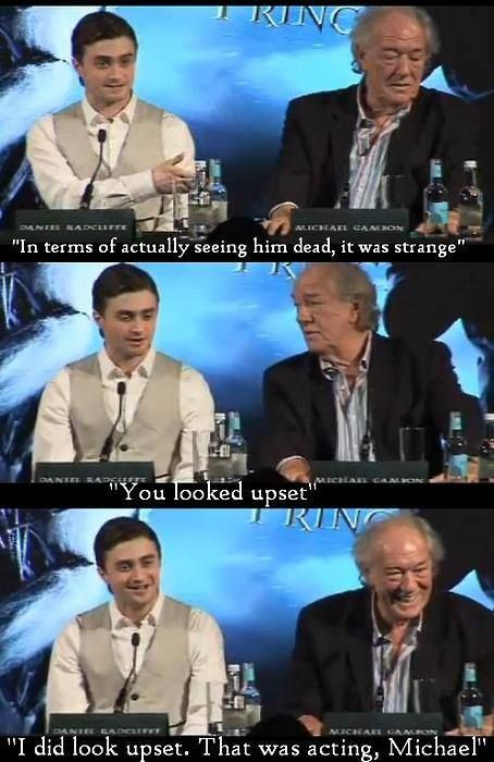 Daniel (Harry) and Michael (Dumbledore)  talking about Dumbledore death scenes.