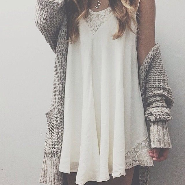 White dress + loose cardigan
