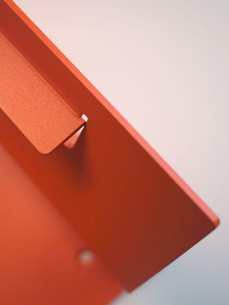 Detail. Folded and powder coated aluminium sheet.
