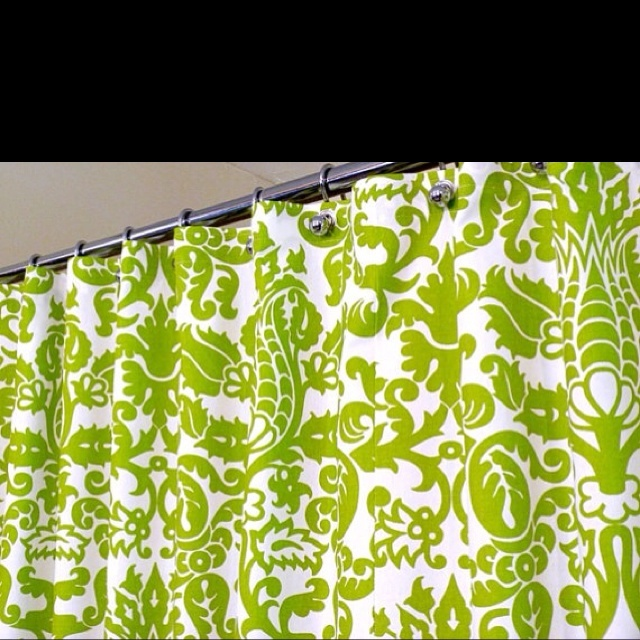 shower curtain in green and white pattern green shower curtain sized 72 x 72 curtain hooks sold separately