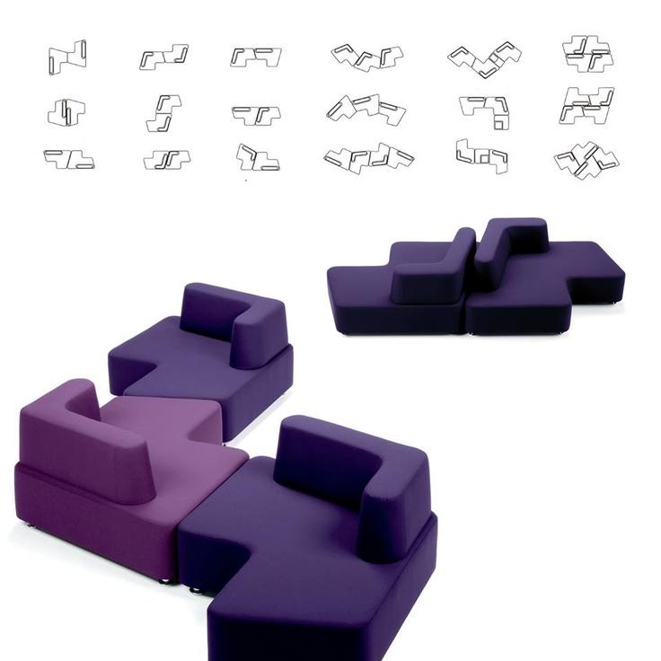 Puzzle, un sistema di arredo di grande flessibilità d'uso. Può dare origine a un numero infinito di combinazioni! Puzzle 2006, disegno Makio Hasuike