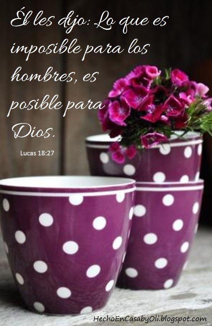 Lucas 18:27 Él les dijo: Lo que es imposible para los hombres, es posible para Dios.♔