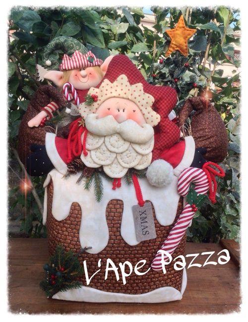 Patrones Santas y elfos 2014: Libro patrón chimenea doorstop con Santa y Elf