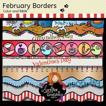 Here's a collection of 9  borders! (Groundhog Day, Valentine's Day and 100th Day of School)300 dpi (png).The frames are sized for US letter paper (8.5 x 11) but can be scaled larger or smaller.If you like this freebie, please check out: Valentine's Day Detective Clip ArtBuild a Groundhog Clip Art !