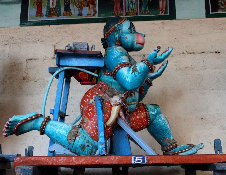 Hanuman wooden vahana for festival images during processions at KoodalAzhagar Temple Madurai #OU4993