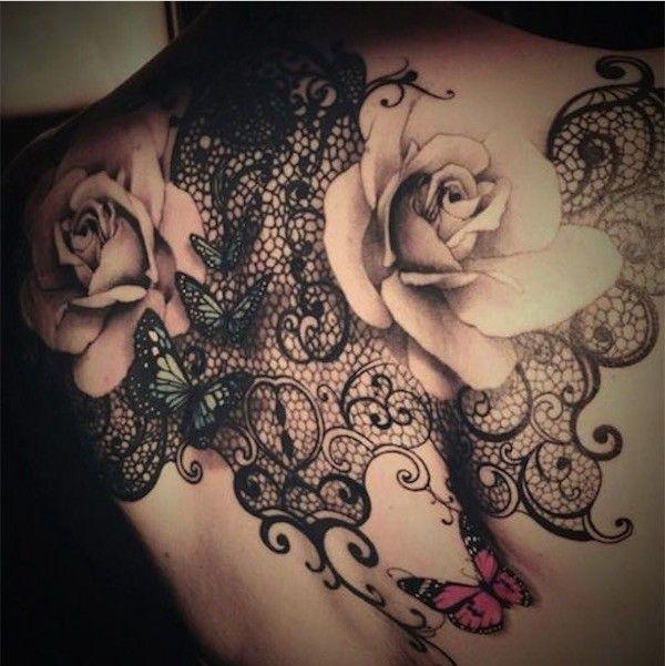 Tatuagem de Flor | Rosas em Preto e Cinza, Blackwork e Borboletas