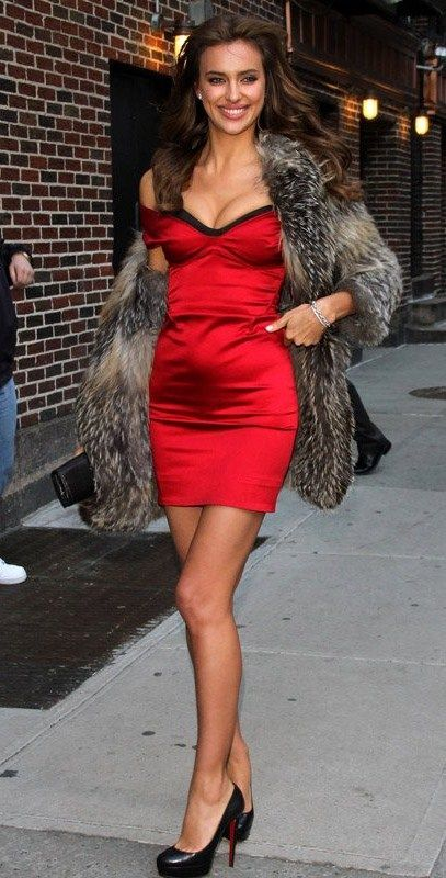 """Gearing up for a big announcement, Irina Shayk and a few fellow swimsuit models arrived for the taping of the """"Late Show with David Letterman"""" in NYC on Monday (February 14)."""