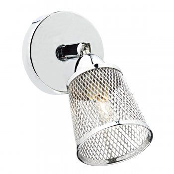 A industrial design single wall light in a polished chrome finish complete with a metal mesh basket weave shade. The light is individually switched by a rocker switch and is double insulated for safe use without need of an earth wire. This would be suitable for use in any modern setting and would be great for bedroom and home office lighting.