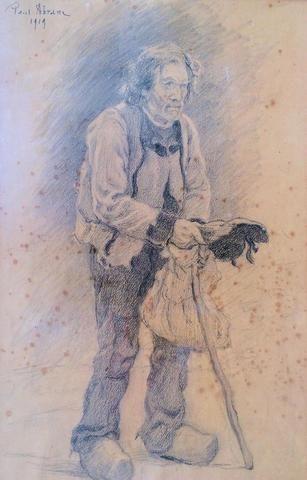 """ABRAM Paul (1854-1925) """"Portrait de vieux breton"""" Dessin au fusain"""