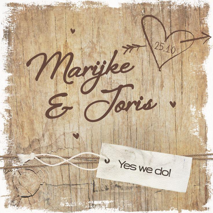 Romantisch en eenvoudig met namen en hartjes uit hout. Prachtig op Oud Hollands papier!