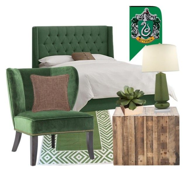 """Slytherin inspired bedroom"" by hogwartsinspired on Polyvore featuring interior, interiors, interior design, home, home decor, interior decorating, Madeline Weinrib, CB2, Vance and Fresh American"