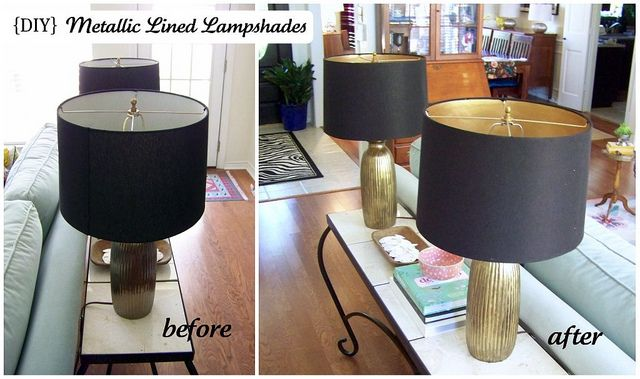 paint inside lampshade with metallic paint