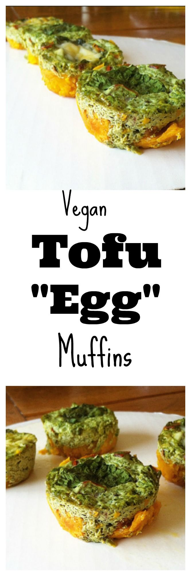 """Need a grab and go breakfast? Make these easy #vegan Tofu """"Egg"""" Muffins! These are the perfect way to start your day! #healthy #glutenfree"""
