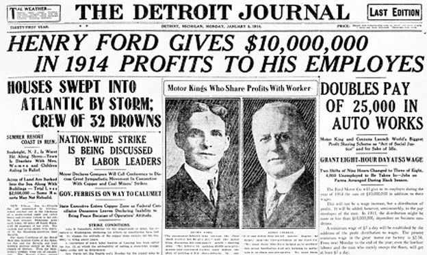 With the 100th anniversary of the five-dollar day this past week, Henry Ford's revolutionary move was back in the news, briefly. Description from macsmotorcitygarage.com. I searched for this on bing.com/images