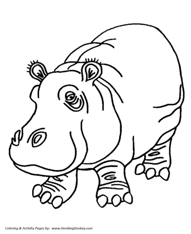 Pink hippo coloring pages