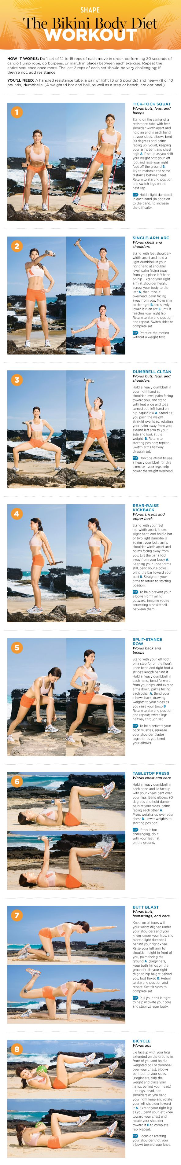 The Bikini Body Diet Workout to Lose Fat & Tone Up!-Shape Magazine