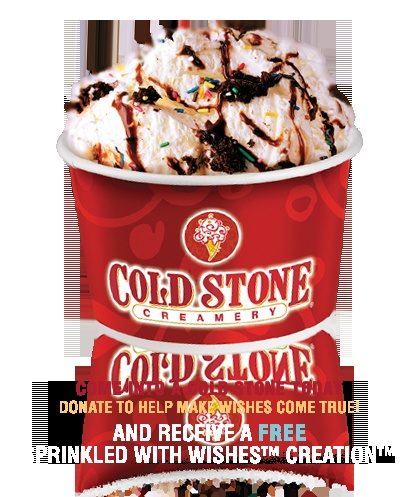 Cold Stone Annual Ice Cream Social, Sept. 27th, 2011 5-9pm.  Free 3 oz. ice cream.  Taking donations for Make a Wish