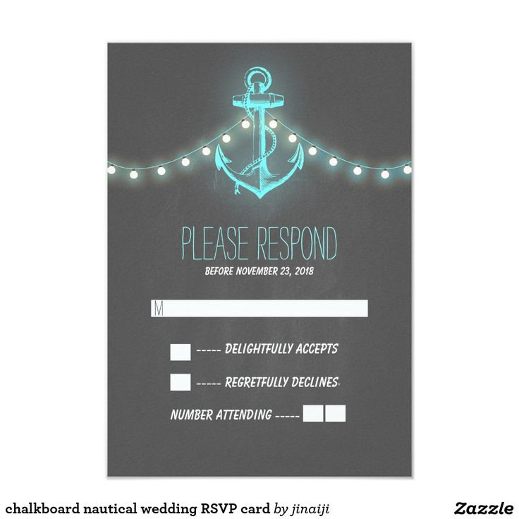 chalkboard nautical wedding RSVP card The 777