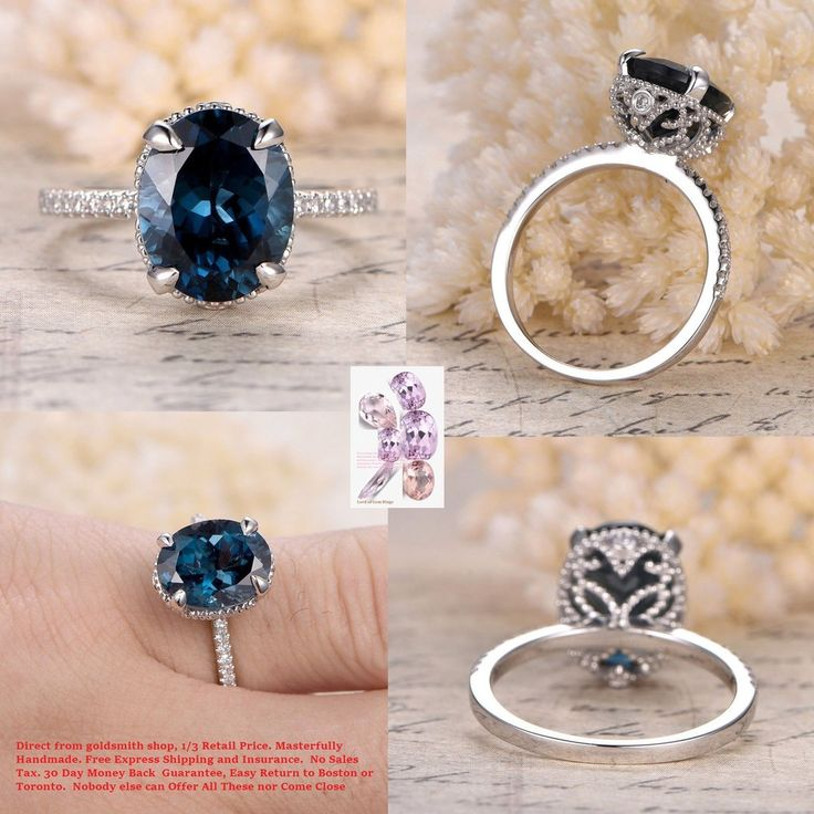 Oval London Blue Topaz Engagement Ring Pave Diamond Wedding 14K White Gold 9x11mm Vintage