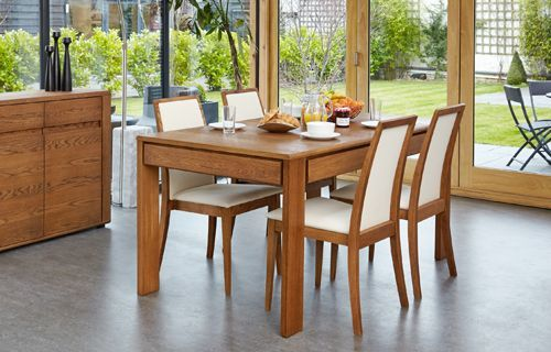 Olten - Extending Dining Table with drawer in Oak Finish 2 #oak #wood #furniture #home #interior #decor #interiorinspiration #livingroom #diningroom #kitchen #lounge #house #dining #table #chair