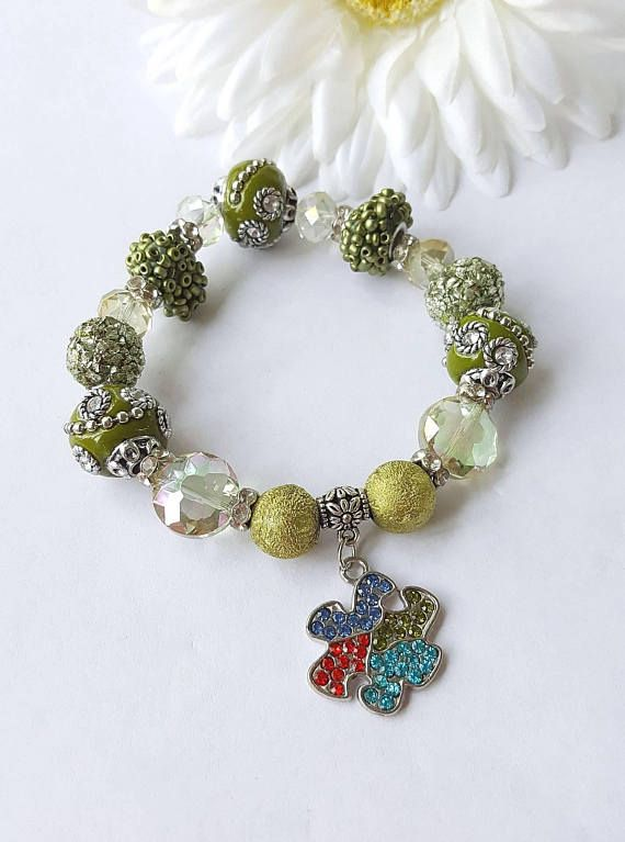 Autism Awareness Bracelet https://www.etsy.com/listing/273386664/autism-awareness-bracelet-green-bracelet